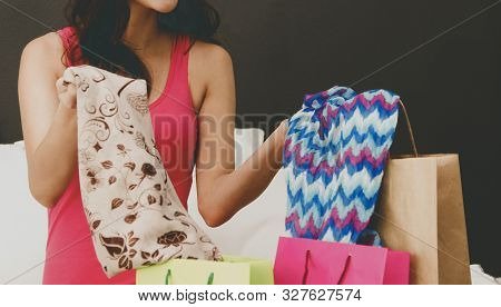 Pretty Young Woman Sitting Bed With Shopping Bags