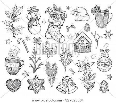 Christmas Hand Drawn Doodle Icon Set. Merry Xmas Happy New Year Symbol, Retro Sketch Style. Cute Emb