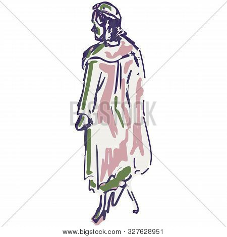 1950s Retro Lady Walking Illustration. Hand Drawn Loose Lineart Style Of Fifties Vintage Fashion Wom