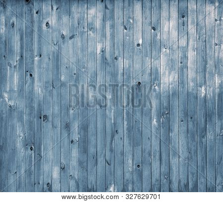 Rustic Old Wood Plank Background. Blue Wooden Plank Desk Table Background Texture. Old Painted Wall