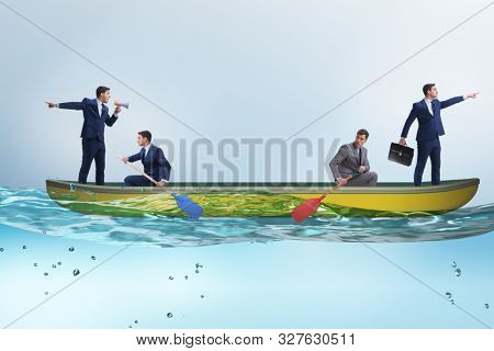 Disagreement concept with businessmen rowing in different direct