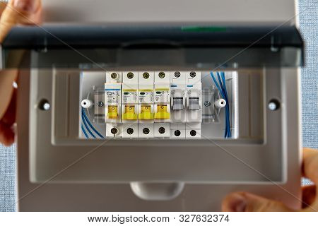 Installation Of Electrical Fuse Boards Or Consumer Unit. Circuit Breakers Are Housed In A Breaker Bo