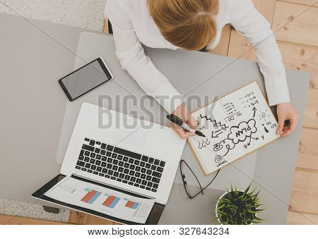 Portrait Of Businesswoman Sitting At Desk With A Laptop