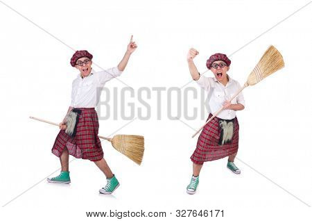Funny scotsman isolated on the white background