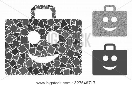Glad Case Mosaic Of Rugged Items In Variable Sizes And Color Hues, Based On Glad Case Icon. Vector J