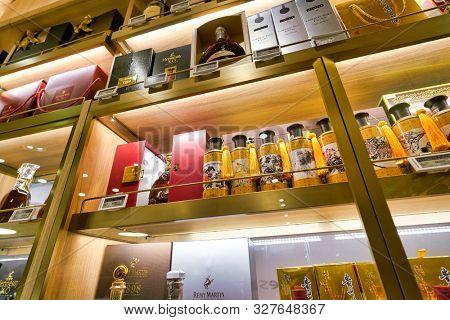 SHENZHEN, CHINA - CIRCA APRIL, 2019: interior shot of Ole' Wine Cellar in Shenzhen.