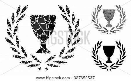 Glory Wreath Mosaic Of Rugged Parts In Various Sizes And Color Tints, Based On Glory Wreath Icon. Ve