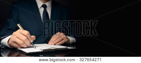 Lawyer, Notary, Attorney Signs Document