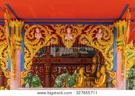 Bang Saen, Thailand - March 16, 2019: Wang Saensuk Buddhist Monastery. Gold, Blue And Red Decoration