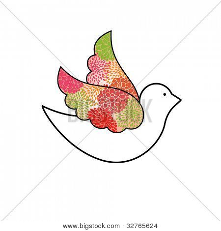 Beautiful dove with flowers on wings