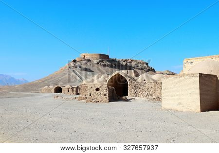 Zoroastrian ceremonial complex and Towers of Silence (Dakhma), were used for burial ceremonies, Yazd, Iran
