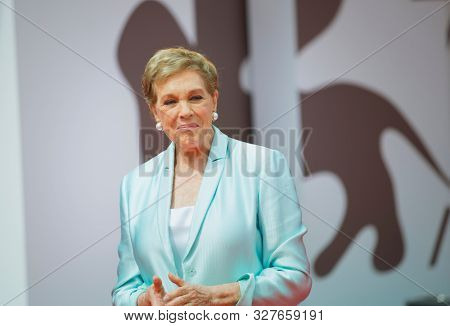 Julie Andrews arrives to be awarded the Golden Lion for Lifetime Achievement during the 76th Venice Film Festival at Sala Grande on September 02, 2019 in Venice, Italy.