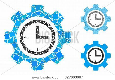 Time setup gear composition of inequal parts in variable sizes and color tones, based on time setup gear icon. Vector raggy parts are composed into composition. poster