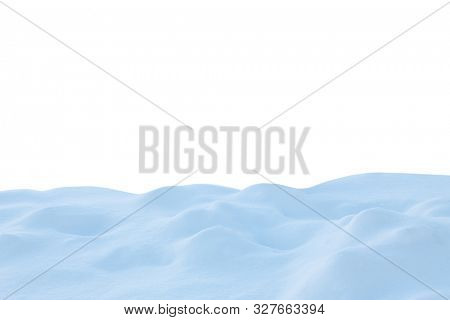 A large beautiful snowdrift isolated on white background.Winter snow  background. A big snow drift