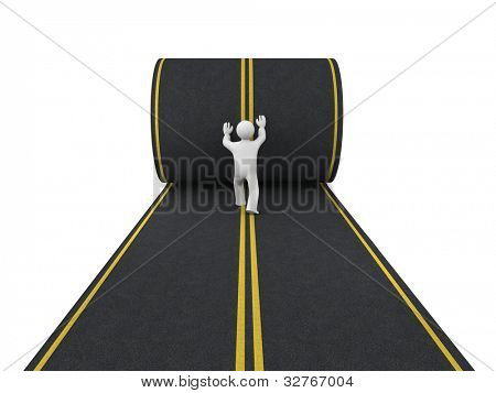 3d person paves road. Image contain clipping path