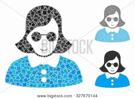 Blind Woman Composition Of Tremulant Parts In Various Sizes And Shades, Based On Blind Woman Icon. V