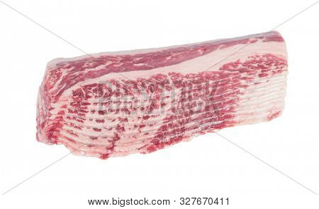 Raw beef bacon slices isolated on white background