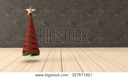 3d render of Christmas background with abstract tree