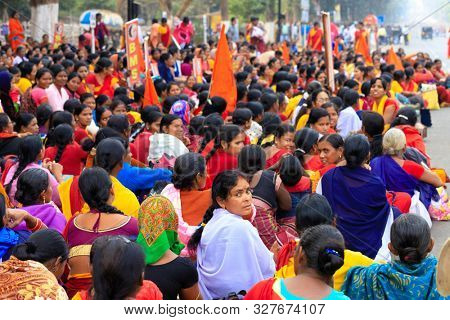 BHUBANESWAR, INDIA, JANUARY 11, 2019 : Women government officers are protesting in the street against the income lowering of retired people in their profession