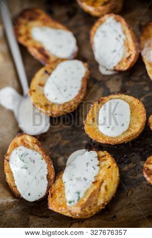 Delicious homemade baked potatoes slices