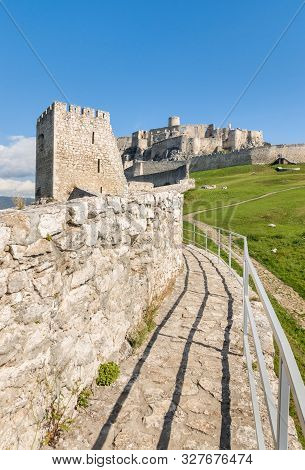 Medieval Fortification Wall At Spissky Hrad (spis Castle) In Eastern Slovakia, Central Europe