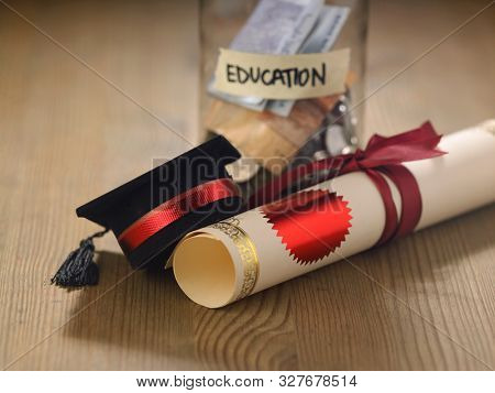 saving jar labeled education with mortar board and certificate