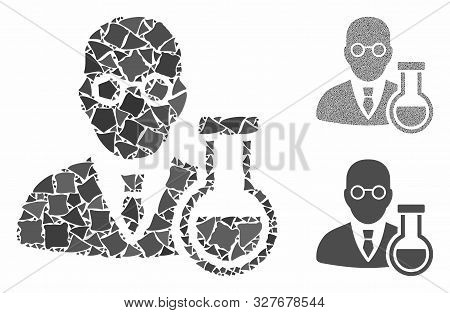 Chemist Mosaic Of Unequal Pieces In Different Sizes And Color Tones, Based On Chemist Icon. Vector T