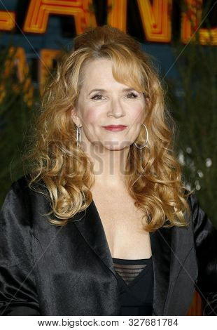 actress Lea Thompson at the Los Angeles premiere of 'Zombieland Double Tap' held at the Regency Village Theatre in Westwood, USA on October 10, 2019.