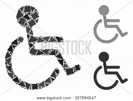 Handicapped Mosaic Of Trembly Elements In Variable Sizes And Color Hues, Based On Handicapped Icon.