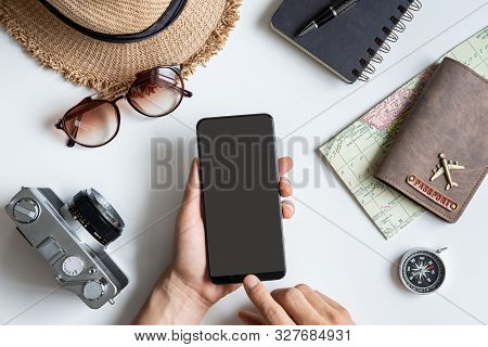 Retro Camera With Empty Screen Smart Phone, Travel Vacation Concept