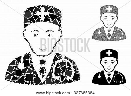 Physician Mosaic Of Abrupt Parts In Different Sizes And Color Tones, Based On Physician Icon. Vector