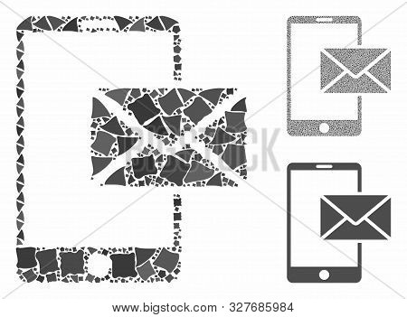 Mobile mail composition of unequal items in variable sizes and color hues, based on mobile mail icon. Vector rugged items are united into composition. Mobile mail icons collage with dotted pattern. poster