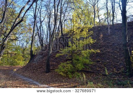 The earthen rampart of the fortress.Fort on Bald Mountain.(Lysohorsky Fort - RUS). Part of built in the Russian Empire in the 19th century the Kiev Fortress.  Ukraine