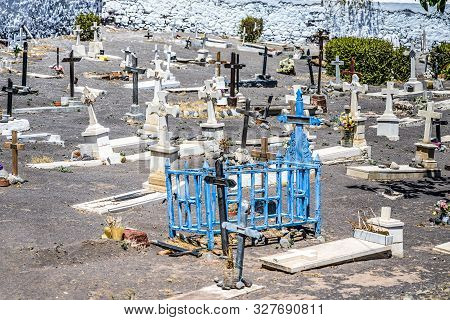 Headstones at a Pet Graveyard cementary in Tenerife for animals poster