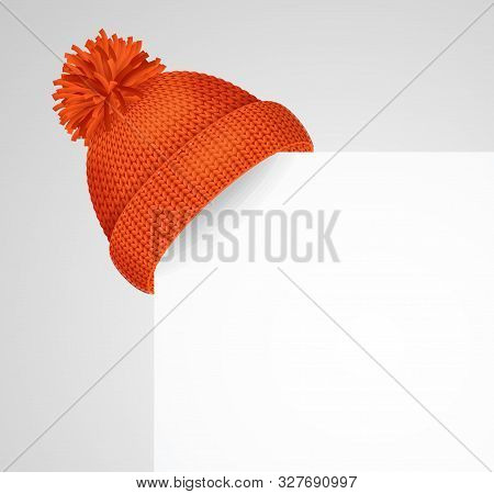 Realistic 3d Detailed Red Knitted Hat With A Pompom On A Corner White Sheet Of Paper For Ad. Vector