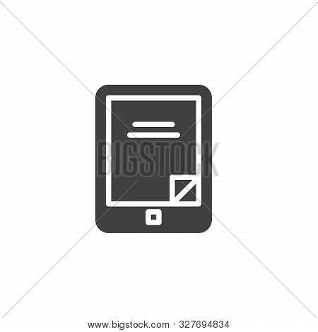 Electronic Book Reader Vector Icon. Filled Flat Sign For Mobile Concept And Web Design. E-book Reade