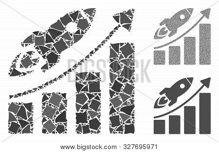 Business Growth Mosaic Of Abrupt Elements In Various Sizes And Color Tints, Based On Business Growth