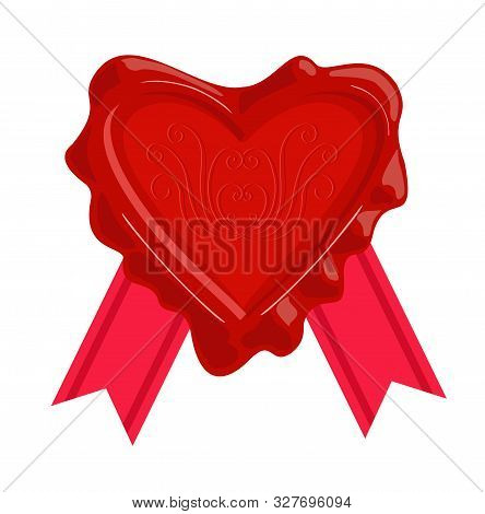 Wax Stamps Vector Icon. Wax Seal In The Form Of A Heart.