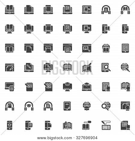 E-learning Vector Icons Set, Modern Solid Symbol Collection, Filled Style Pictogram Pack. Signs, Log