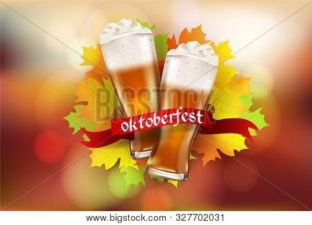 Glasses With Beer And Autumn Leaves.realistic Stock Illustration. Beautiful Autumn Background. The I