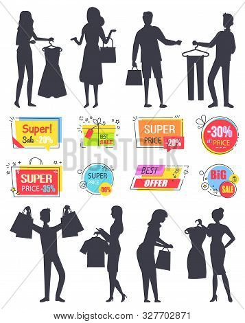 People Shopping In Store Silhouette Vector, Isolated Banners And Character With Bags And Purchased P