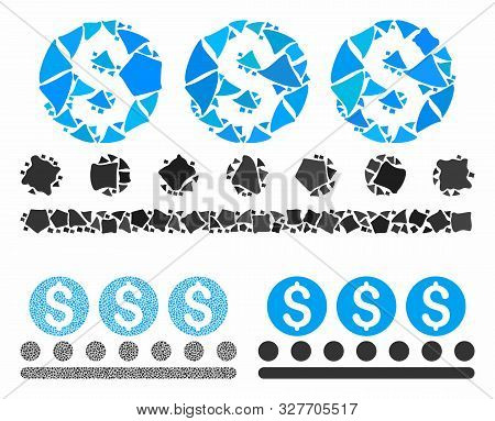 Money Conveyor Mosaic Of Abrupt Parts In Different Sizes And Color Tones, Based On Money Conveyor Ic