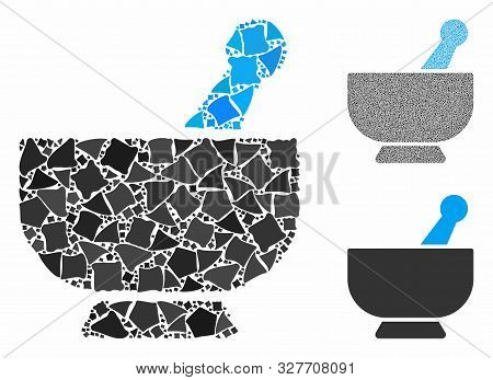 Mortar Mosaic Of Uneven Parts In Different Sizes And Color Tones, Based On Mortar Icon. Vector Irreg