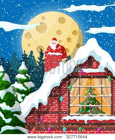 Santa Claus With Bag With Gifts Stuck In House Chimney. Fir Tree In Window. Happy New Year Decoratio