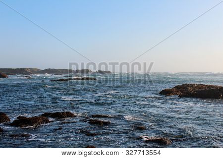 View Of Beautiful Beach In Fort Bragg, California, Usa