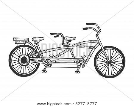 Tandem Bicycle Sketch Engraving Vector Illustration. Tee Shirt Apparel Print Design. Scratch Board S