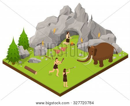 Primitive People Scene Concept 3d Isometric View Include Of Neanderthal Hunter, Cave, Fire And Weapo