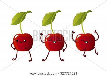 Set Cute Cherry Characters. Kawaii Berry Vector Characters Isolated On White Background