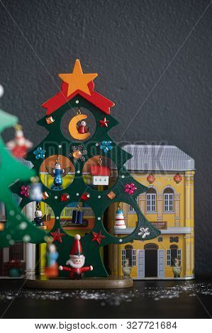 Christmas Tree Wooden Toy Decoration On Gray Background.