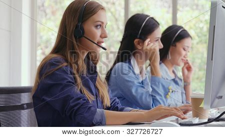 Customer Support Agent Or Call Center With Headset